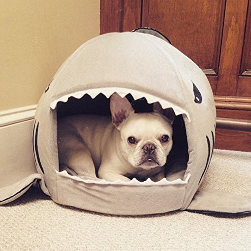 Hifrenchies Pet House Frenchie Shark House Washable Dog Cave Bed with Removable Cushion and a Non-Slip Bottom for Small Pet (48(H) x50(W) cm Open, Grey)