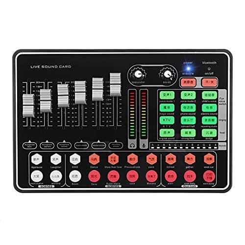 QuRRong Mesa de Mezclas Bluetooth Tarjeta De Sonido En Vivo De Bluetooth Tadra De Juego Micrófono De Auriculares De Mezclador Externo para Transmisión en Vivo (Color : Black, Size : One Size)