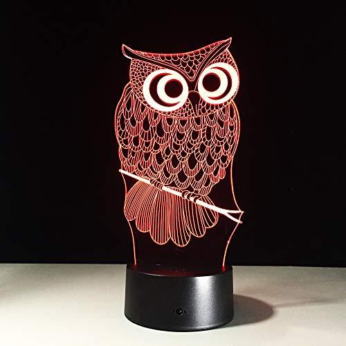 Mddjj All Kinds Of Owl 3D Night Light Rgb Changeable Mood Lamp Led Dc 5V Usb Decorative Table Lamp Baby Sleeping Nightlight 7 Colors Schlafzimmerdekoration