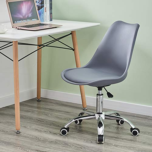 Swivel Chair with Padded Seat Desk Office Chair with Wheels Adjustable Computer Chair with Ergonomic Backrest (Grey)
