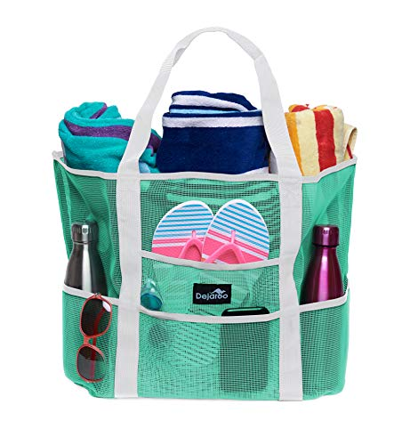 Dejaroo Mesh Beach Bag – Toy Tote Bag – Large Lightweight Market, Grocery & Picnic Tote with Oversized Pockets (Seafoam with White Handles)