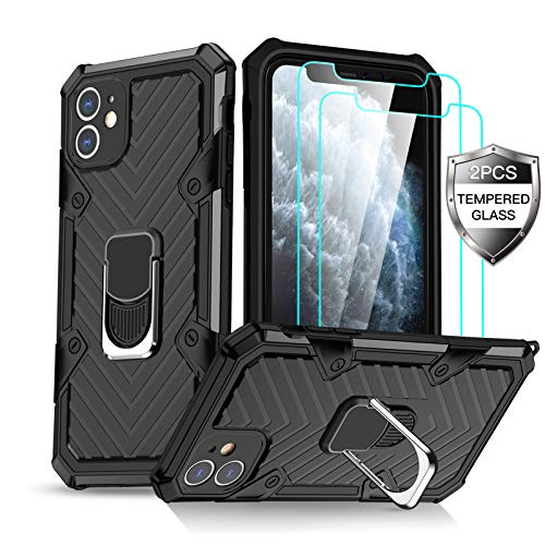 Amytor iPhone 11 Case with [2 x Tempered Glass Screen Protector] [15Ft. Drop Tested ] [ Military Grade ] Protective Phone Case with Magnetic Car Mount Ring Kickstand for iPhone 11 (Black)