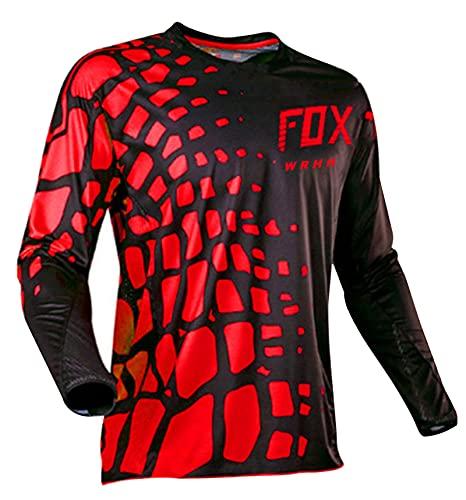 Maglia Da Ciclismo Estivi Uomo Maniche Lunghe Traspirante Abbigliamento MTB Per Bici Mountain Bike (Nero Rosso,3XL)