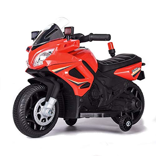 ES-TOYS Bambini Moto elettrica 911 Polizia Moto elettrica 911, Musica Funzione di Allarme luci Sirena, Ruote di Formazione, colorazione:Rosso