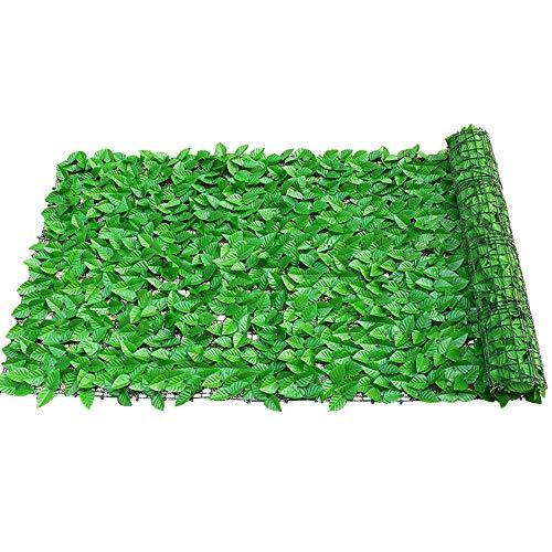 uyoyous Sichtschutz Windschutz Lärmschutz Sichtschutzhecke Efeu Blätter Künstliche Hecke, Kunststoff für Balkon Terrasse Zaun Garten - Hellgrün 300 x 100 cm