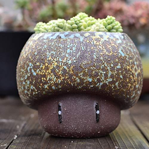 Ghytdf Cartoon Pilz Blumentopf ist geeignet für Sukkulenten zum Dekorieren von Schreibtischen, Gärten, Wohnzimmern und anderen Größen, 16 x 11 x 13,5 cm