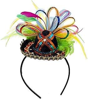 Amscan Cinco De Mayo Fiesta Party Sequins Sombrero Headband with Feather (2 Piece),