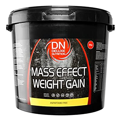 Deluxe Mass Effect Hi Calorie Weight Gainer 4kg Banana Whey Protein Casein Glutamine by Deluxe Nutrition