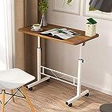 CLEAVE WAVES Beistelltisch, höhenverstellbarer Tisch Tragbarer Computer Laptop Ständer Schreibtisch Mobiler Beistelltisch mit Rollen, 80x40 cm,Oak