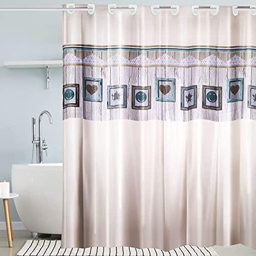 i@HOME Duschvorhang Anti-Schimmel Duschvorhäng Wasserabweisend Shower Curtains Waschbar Anti-Bakteriell Duschvorhänge Badvorhang mit integrierter Hängeeinrichtung(Pentagramm, 180 x 200 cm)