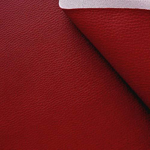 TOLKO Lederimitat mit Rindsleder Optik | weiche Premium Meterware | für Stuhl Bank Sessel Sofa Sitzbezug 140cm breit | Kunstleder Bezugstoff Polsterstoff Polsterbezug Möbelstoff (Dunkel Rot)