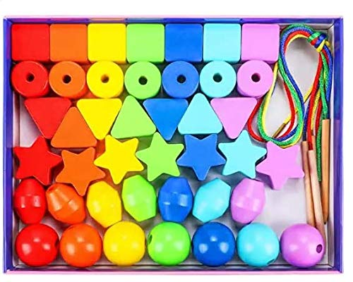 Toyssa 42 STK Perlen zum Auffädeln Perlen Fädelspiel Erste Regenbogen Holzperlen Holzspielzeug Motorikspielzeug Montessori Spielzeug Lernspielzeug Geschenke für 3 4 5 6 Jahre Kinder Mädchen Jungen