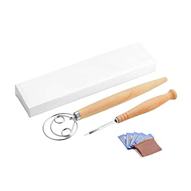 Bread Lame and Danish Dough Whisk Set with 5 Replaceable Razor Blades and Leather Protective Cover, Stainless Steel Bread Flour Mixer Blender for Cake Dessert Pizza Pastry Hand Kitchenware Tool