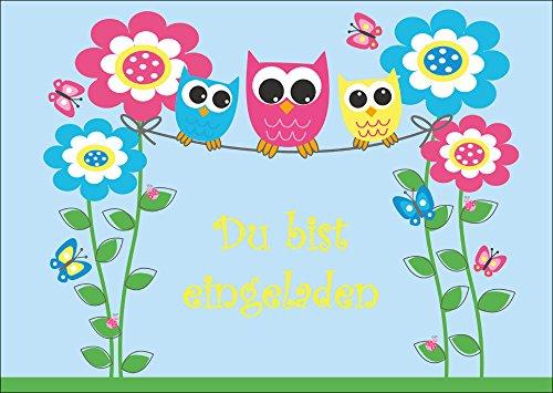 Set van 10 kleurrijke uilen uitnodigingskaarten (10713) voor kinderverjaardag of party/feest/kinderfeest