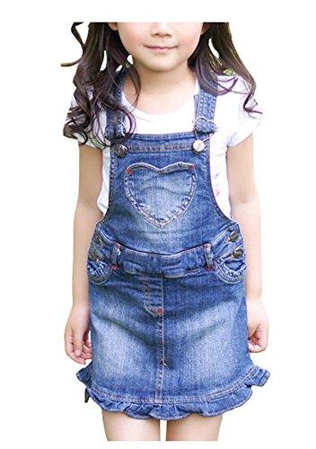CYSTYLE 2018 Mädchen Kleid Träger-jeanskleid Jeans Denim Trägerkleid mit Rüschen und Herz Drucken (110/Körpergröße 98-104cm)