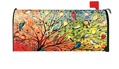 Foruidea Vintage Spring Colorful Birds On Flower Branch Linen Mailbox Covers Magnetic Mailbox Wraps Post Letter Box Cover Standard Oversize 21 X 18 Mailwrap Garden Home Decor