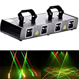 U`King Dj Disco Lights Party Lights 4 Beam Effect Sound Activated Strobe Light RGPY LED Music Lights By DMX Control for Dancing Club Bar Pub Lighting