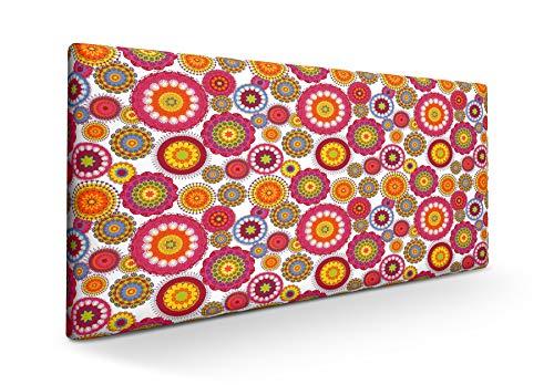 SUENOSZZZ-ESPECIALISTAS DEL DESCANSO Cabecero tapizado para Camas de 90 (100 x 57 cm) en Tela Motivo Estampado Mandala Blanco