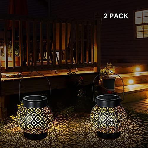 Tinked Luz de Linterna con energía Solar Luces LED Colgantes con diseño de Flores Huecas Luz de Paisaje de jardín IP65 Lámpara de Control de iluminación Exterior Resistente al Agua