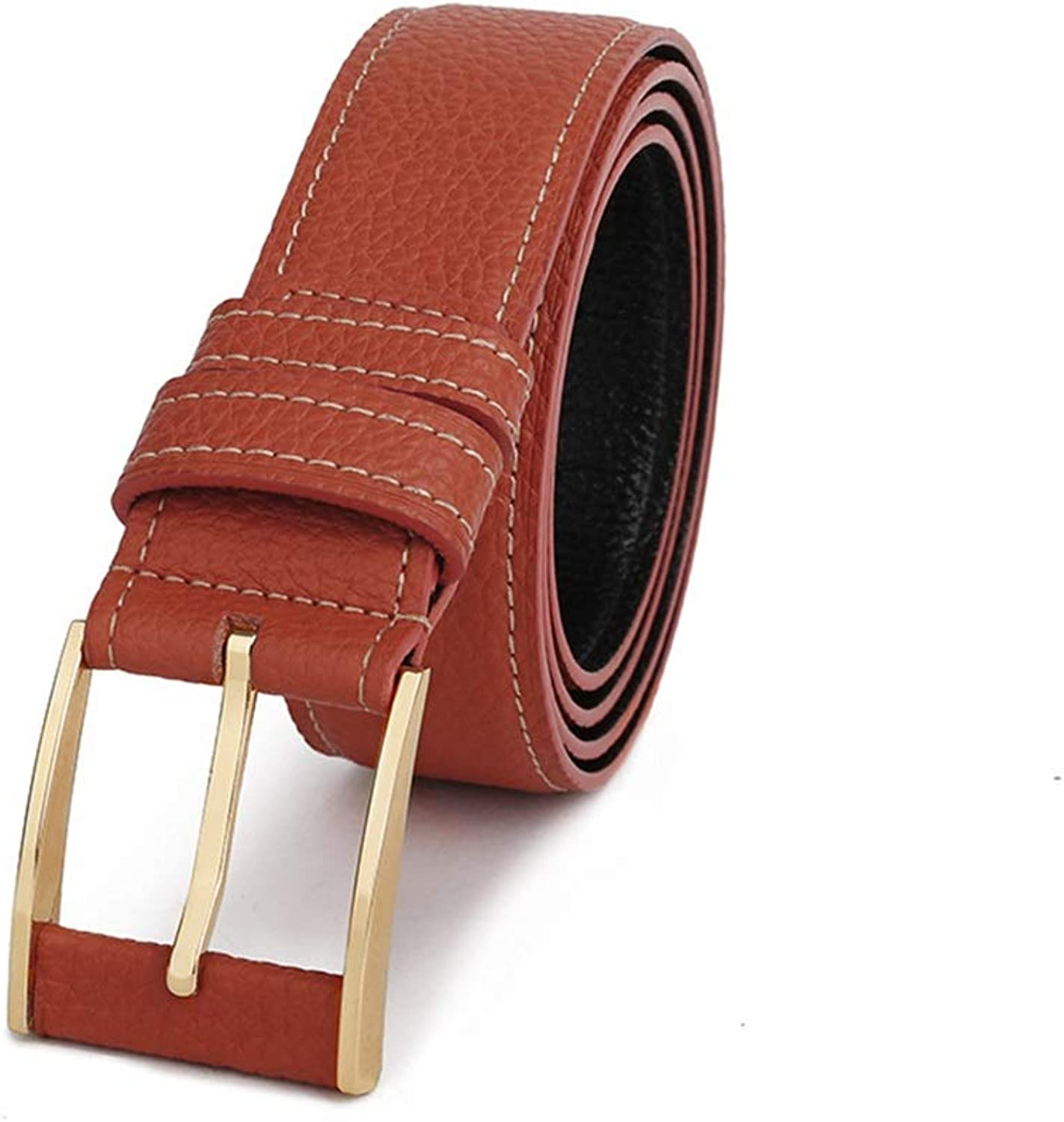 Male Buckle Leather Belt All-Match Genuine Leather Belt Trend, (color   Brown)