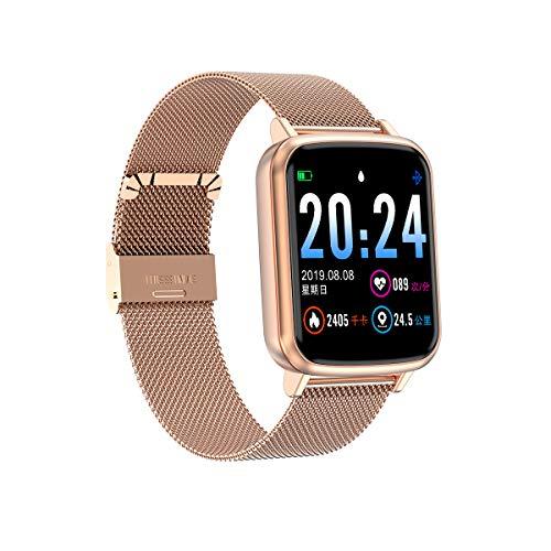 Aliwisdom Smartwatch für Herren Damen Kinder, 1,3 Zoll Smartwatch Fitness Uhr Wasserdicht Sport Armbanduhr Fitness Tracker Metallarmband für iOS Android, Mit Whatsapp SMS-Lesefunktion (Roségold)