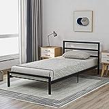 Cadre de lit Lit Simple Lit en Métal 90 X 200 Cm avec Cadre De Lit à Lattes pour Garçons Filles Enfants Chambre