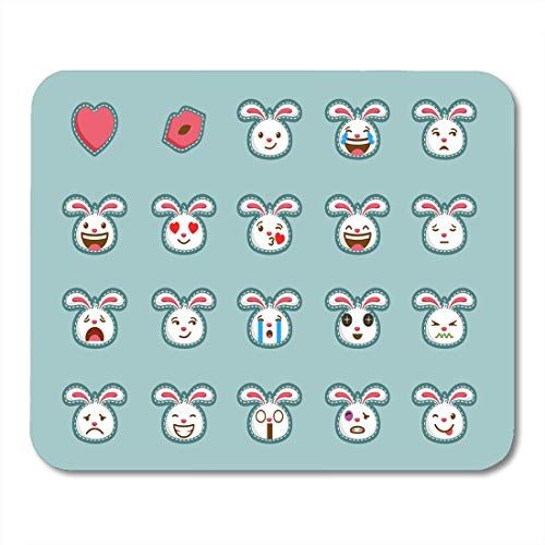 Mauspads Easter White Bunny von Rabbit Emoticon Cute Face Collection Mauspad für Notebooks, Desktop-Computer Matten Büromaterial
