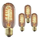 Queta Edison Bombilla E27 40W Iluminación Vintage T45 Lámpara Retro Ideal para Cafetería Bar Restaurante Boda Decoración Navideña etc. 3 piezas