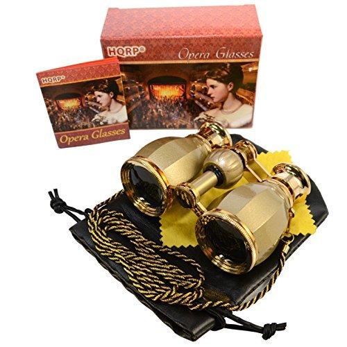 HQRP Prismáticos de ópera/Binocular de Teatro de Estilo Antiguo 4 x 30 Dorado con Cadena Dorada