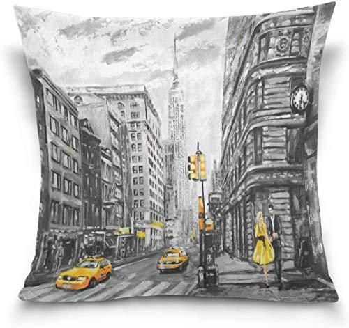 MODORSAN Funda de Almohada Decorativa para sofá de casa de 18'x18', Pintura al óleo a la Moda, Funda de Almohada para sofá Cama de la Calle Nueva York, Ambos Lados