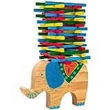 Natureich Elefant Montessori Stapel Spielzeug aus Holz zum Geschicklichkeit Lernen mit Stäbchen Bunt / Natur ab 3 Jahre für die frühe Motorik Entwicklung &...
