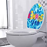 Funny Stickers Ball Like Letter Pool Differen Summer Hot Vib Image Multicolor Bathroom Toilet Seat Cover Decals Sticker Removable Self-Adhesive, W13xH16 INCH