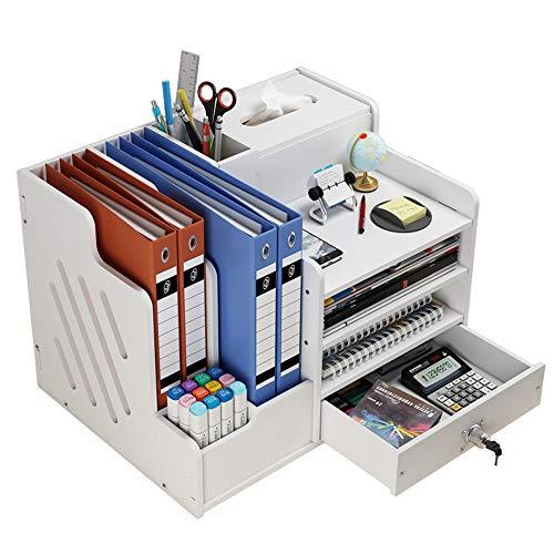 Organizer da scrivania, grande capacità, per ufficio, cancelleria, scrivania, organizer per documenti formato A4, penne, libri, lettere e documenti (PB07-2)