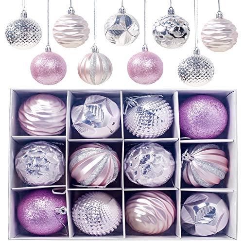 Gxhong Palle di Natale, 12 Pezzi Decorazioni Albero di Natale Palline di Plastica, Ornamenti Decorativi Ciondoli Regali Sfere per Albero di Natale Lucide e opache Glitter 6CM, Rosa