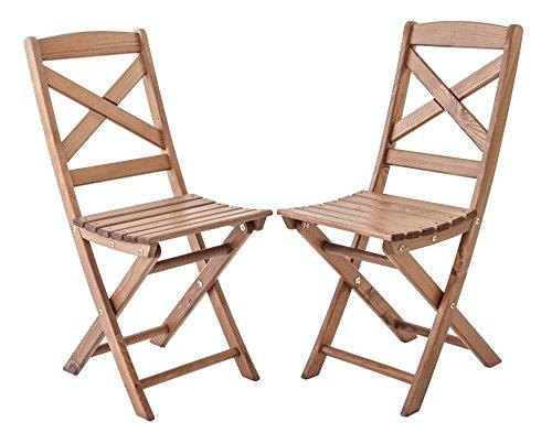 Ambientehome Lot de 2 chaises Pliables pour Jardin ou Balcon Lotta-Bois: pin Massif, Ton Marron, 36x52x87 cm