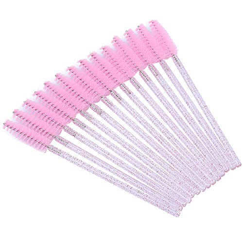 Tbestmax 100 Disposable Eyelash Brush Mascara Wands Spoolies for Eye Lashes Extension Eyebrow and Makeup Pink