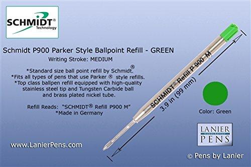 Schmidt P900 Medium Parker Style Ball Point Refill - Green Ink