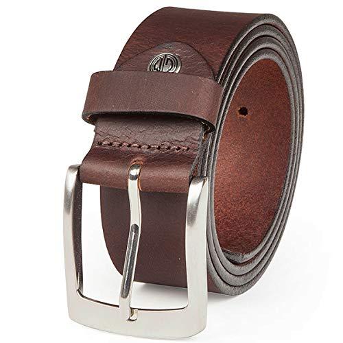 Lindenmann - Cinturón para vaqueros XXL, 4 mm, de cuero de búfalo, para hombre marrón 100