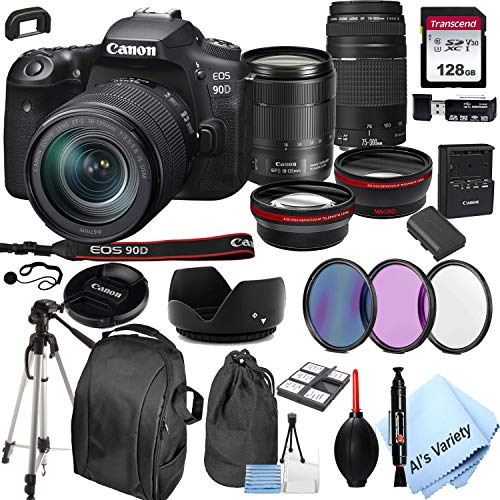 Canon EOS 90D DSLR Camera + 18-135mm f/3.5-5.6 is USM Lens + 75-300mm F/4-5.6 III Lens + 128GB Card, Tripod,Back-Pack,Filters, 2X Telephoto Lens, HD Wide Angle Lens, Hood, Lens Pouch, More (28pcs)