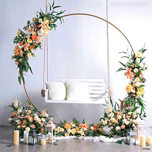 7 FT Tall - Gold Round Metal Wedding Arch  Photo Booth Backdrop Stand