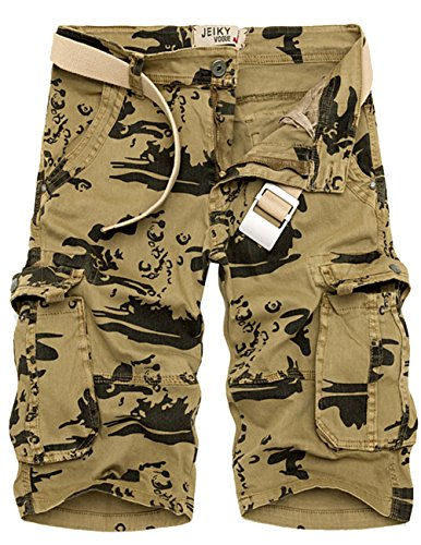 Menschwear Mens Cotton Cargo Shorts Multi Pockets Relaxed Fit with Belt (33,Khaki)