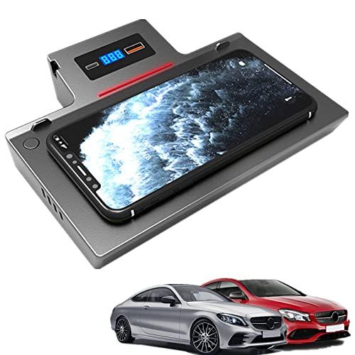 Paobiy Cargador inalámbrico para coche compatible con Mercedes-Benz CLA 2020 2021 panel de accesorios de consola central, 15W Qi carga rápida teléfono cargador, para iPhone 8/11/Pro/X/XR, Samsung Note