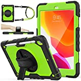 SEYMAC stock Case for iPad 8th/7th Generation 10.2, [Full-Body] &Shock-Proof Protection with 360 Degrees Rotating Stand [Pencil Holder] Hand Strap for 2020/2019 iPad 8th/7th 10.2 Inch(Green+Black)