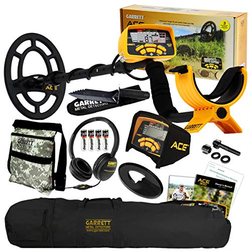 Garrett ACE 300 Metal Detector with Headphones, Carry Bag, Pouch, Digger