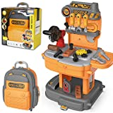 Kids Tool Set, 2 in 1 Carpenter Engineer Role-Play Toy Backpack, 31pcs Simulation Props, Detachable and Easy...