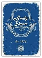 アミティアイランドハーバーパトロールウォールメタルポスターレトロプラーク警告ブリキサインヴィンテージ鉄絵画装飾オフィスベッドルームリビングルームクラブのための面白いハンギングクラフト