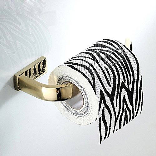 WINCASE Luxury Toilet Paper Holder, Polished Gold Tissue Roll Holder, WC Kitchen Wall Mounted All Brass Construction