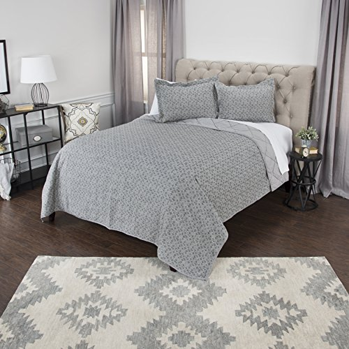 "Rizzy Home BQ4528 Quilt, 90""X92"", Blue/Gray/Nuetral"