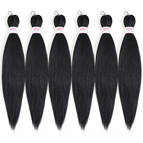 """Braiding Hair Pre stretched 20"""" -6packs/lot Omber Synthetic Crochet Braids,Natural Braid Crochet Hair,Hot Water Setting Professional Soft Yaki Texture(1B)"""