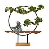 bonsai artificial realista Artificial Bonsai Tree Fake Plant Decoration Potted Casa Artificial Plantas Cerámica Monje escultura Decorada Base de madera for decoración, Exhibición de escritorio, Decora